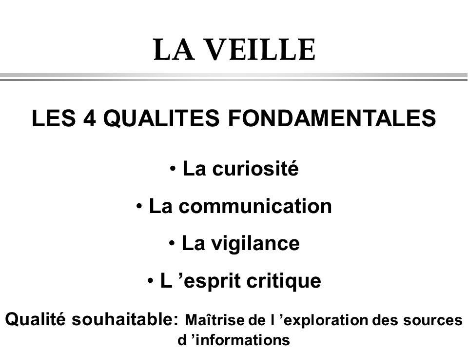 LA VEILLE LES 4 QUALITES FONDAMENTALES • La curiosité • La communication • La vigilance • L 'esprit critique Qualité souhaitable: Maîtrise de l 'exploration des sources d 'informations