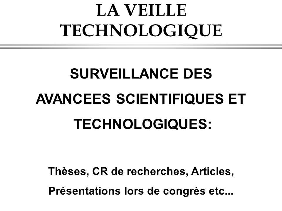 LA VEILLE TECHNOLOGIQUE SURVEILLANCE DES AVANCEES SCIENTIFIQUES ET TECHNOLOGIQUES: Thèses, CR de recherches, Articles, Présentations lors de congrès e