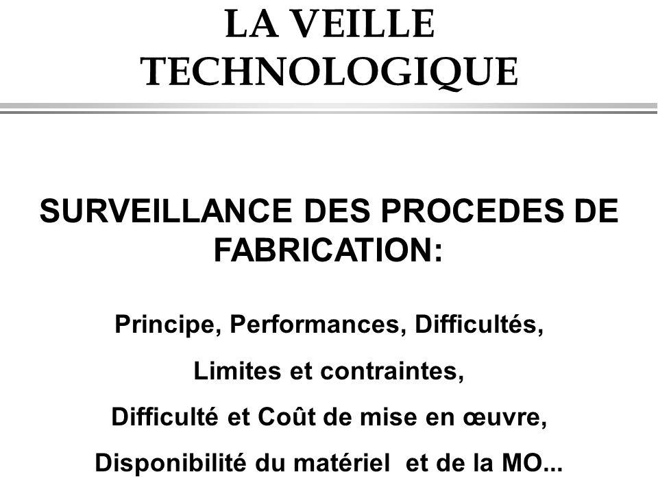 LA VEILLE TECHNOLOGIQUE SURVEILLANCE DES PROCEDES DE FABRICATION: Principe, Performances, Difficultés, Limites et contraintes, Difficulté et Coût de m