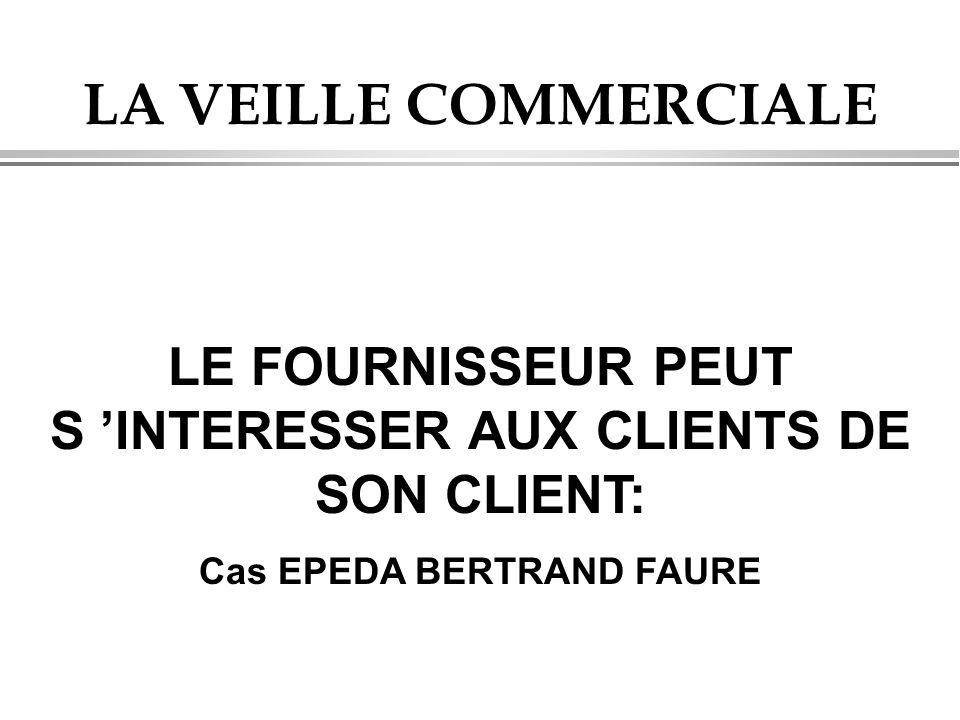 LA VEILLE COMMERCIALE LE FOURNISSEUR PEUT S 'INTERESSER AUX CLIENTS DE SON CLIENT: Cas EPEDA BERTRAND FAURE