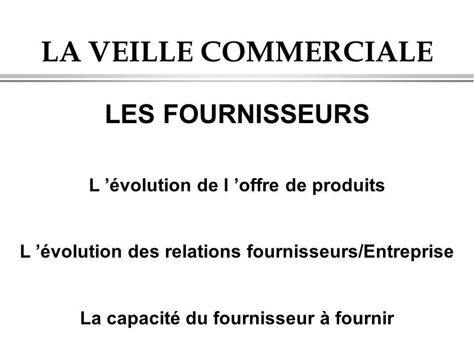 LA VEILLE COMMERCIALE LES FOURNISSEURS L 'évolution de l 'offre de produits L 'évolution des relations fournisseurs/Entreprise La capacité du fournisseur à fournir