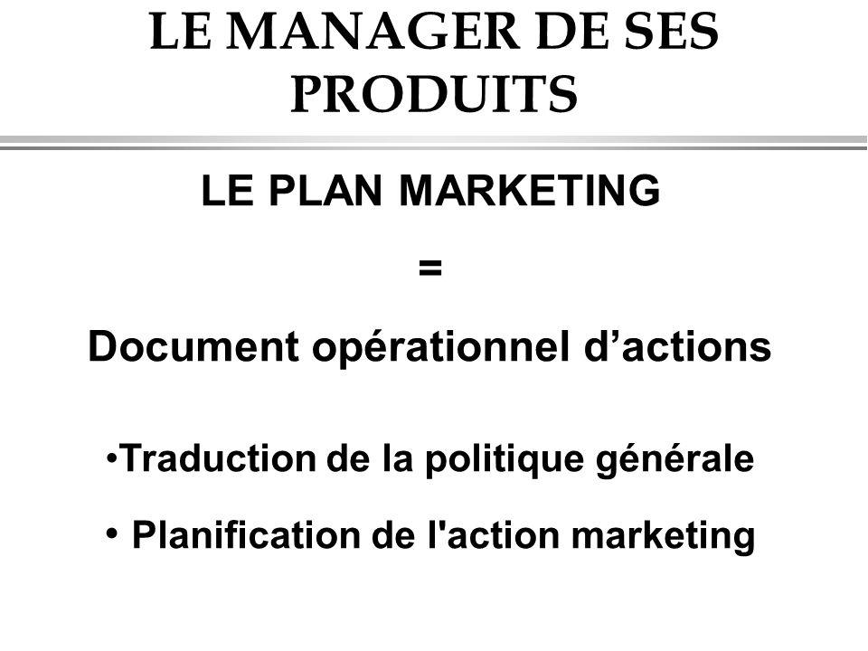 LE MANAGER DE SES PRODUITS LE PLAN MARKETING = Document opérationnel d'actions •Traduction de la politique générale • Planification de l action marketing