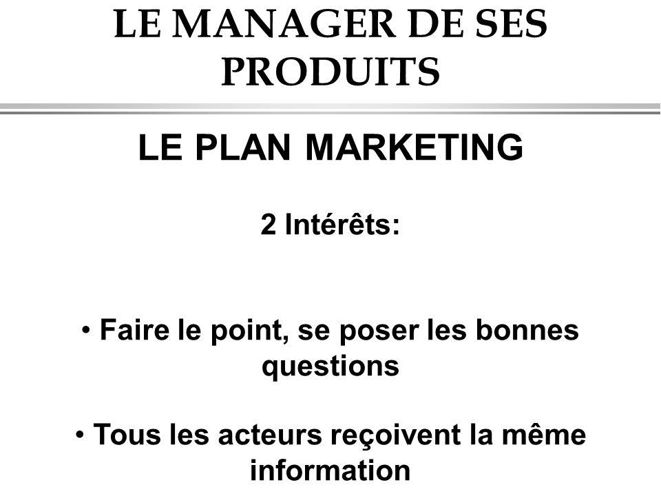 LE MANAGER DE SES PRODUITS LE PLAN MARKETING 2 Intérêts: • Faire le point, se poser les bonnes questions • Tous les acteurs reçoivent la même informat