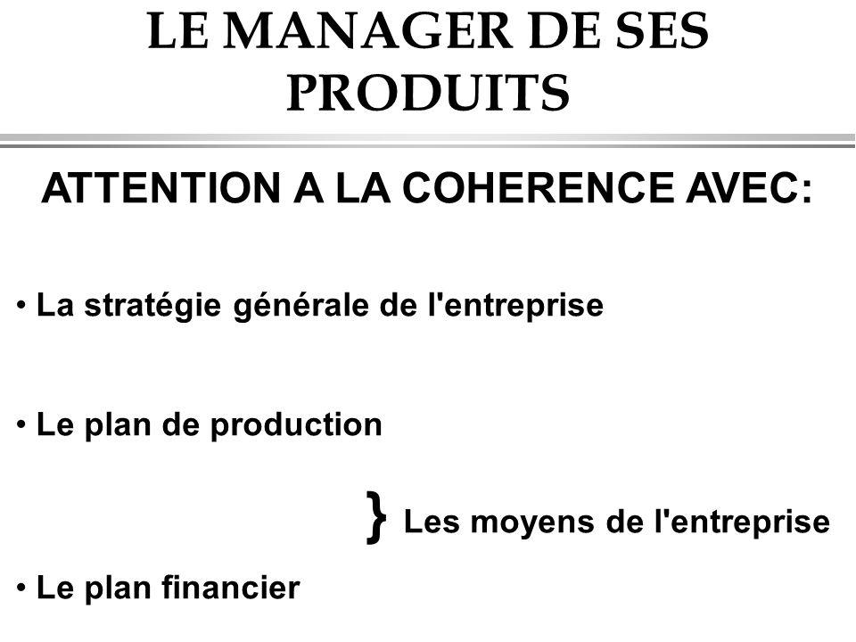 LE MANAGER DE SES PRODUITS ATTENTION A LA COHERENCE AVEC: • La stratégie générale de l entreprise • Le plan de production } Les moyens de l entreprise • Le plan financier