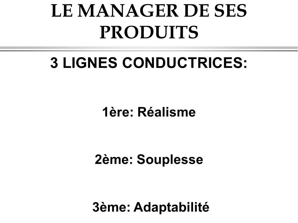 LE MANAGER DE SES PRODUITS 3 LIGNES CONDUCTRICES: 1ère: Réalisme 2ème: Souplesse 3ème: Adaptabilité