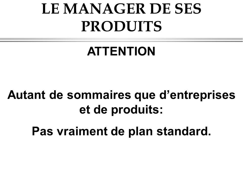LE MANAGER DE SES PRODUITS ATTENTION Autant de sommaires que d'entreprises et de produits: Pas vraiment de plan standard.