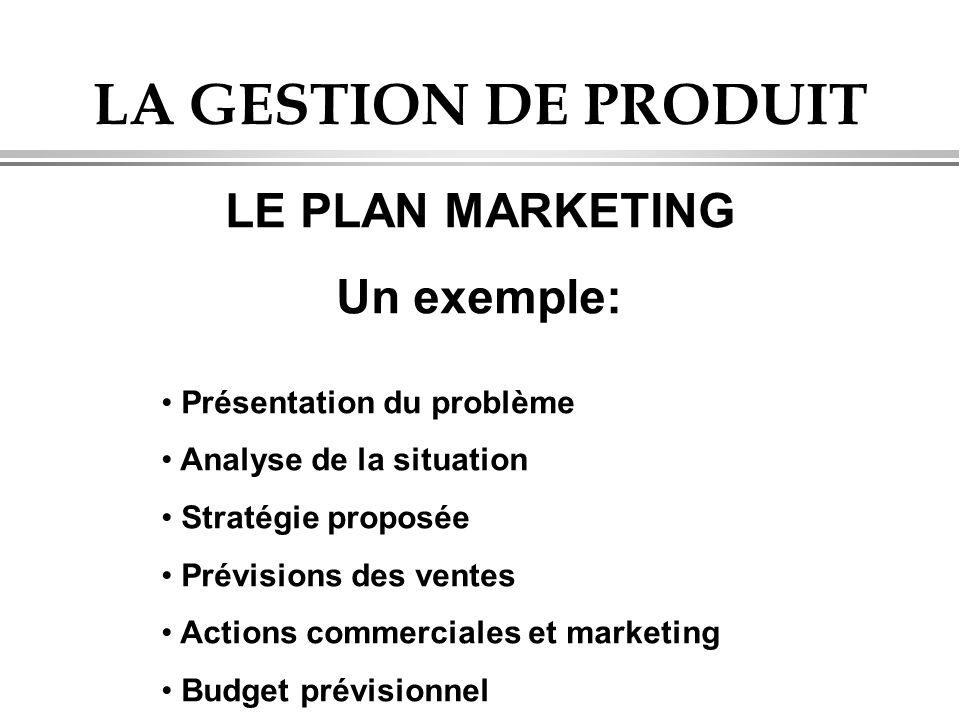 LA GESTION DE PRODUIT LE PLAN MARKETING Un exemple: • Présentation du problème • Analyse de la situation • Stratégie proposée • Prévisions des ventes • Actions commerciales et marketing • Budget prévisionnel