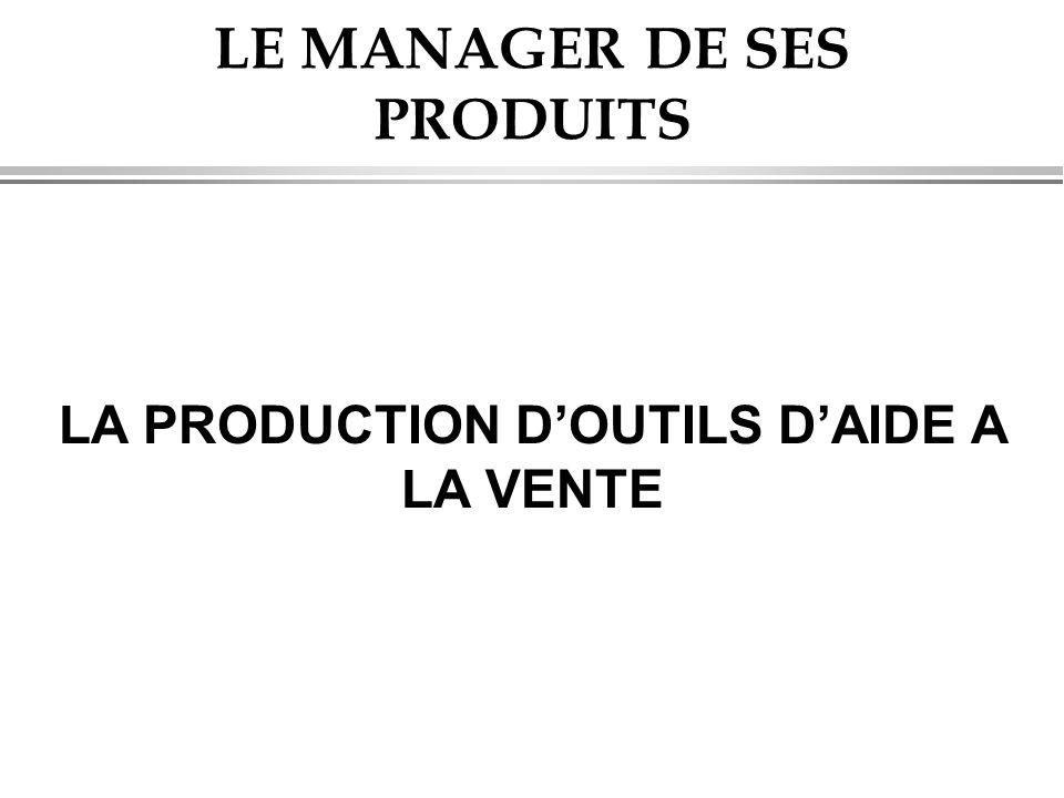 LE MANAGER DE SES PRODUITS LA PRODUCTION D'OUTILS D'AIDE A LA VENTE