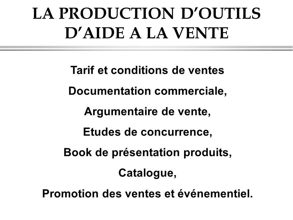 Tarif et conditions de ventes Documentation commerciale, Argumentaire de vente, Etudes de concurrence, Book de présentation produits, Catalogue, Promotion des ventes et événementiel.