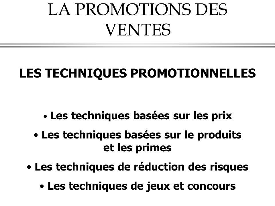 LA PROMOTIONS DES VENTES LES TECHNIQUES PROMOTIONNELLES • Les techniques basées sur les prix • Les techniques basées sur le produits et les primes • L