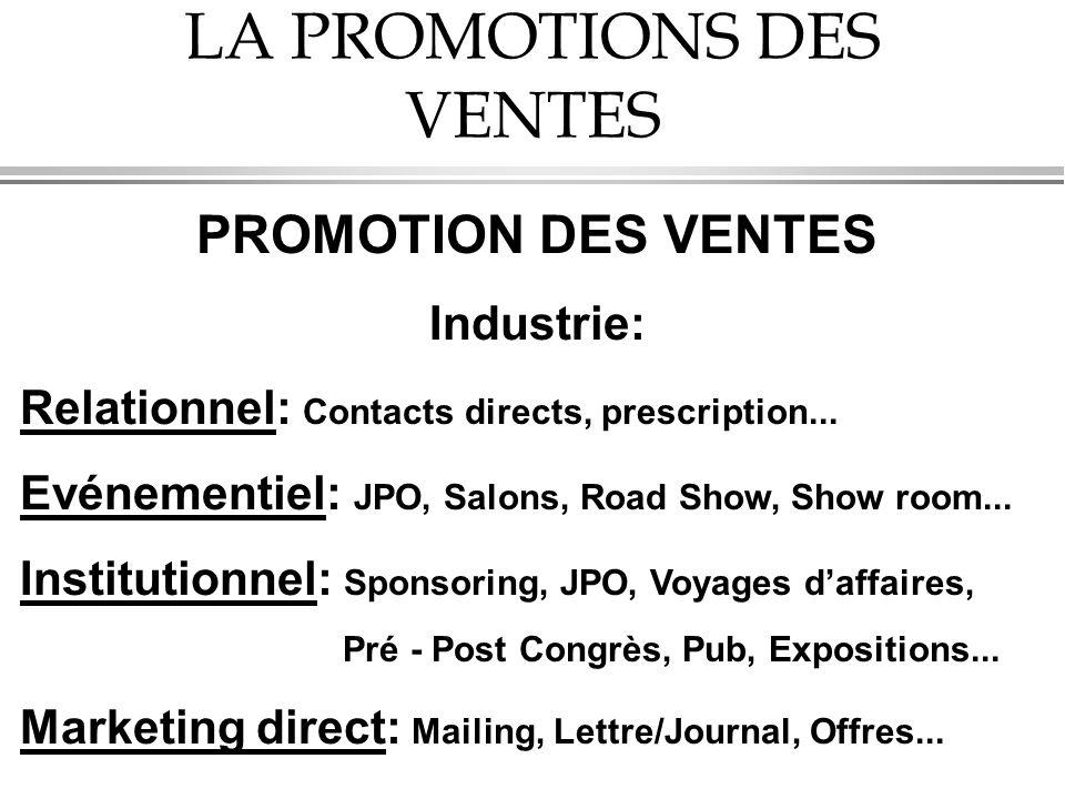 LA PROMOTIONS DES VENTES PROMOTION DES VENTES Industrie: Relationnel: Contacts directs, prescription... Evénementiel: JPO, Salons, Road Show, Show roo