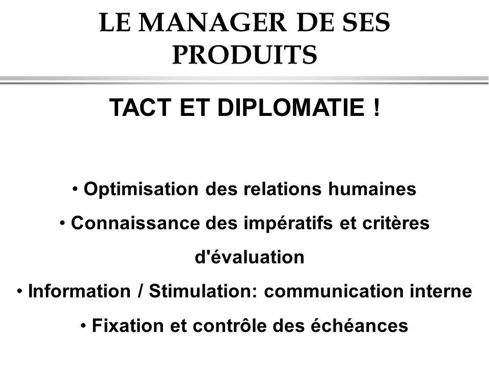LE MANAGER DE SES PRODUITS TACT ET DIPLOMATIE ! • Optimisation des relations humaines • Connaissance des impératifs et critères d'évaluation • Informa
