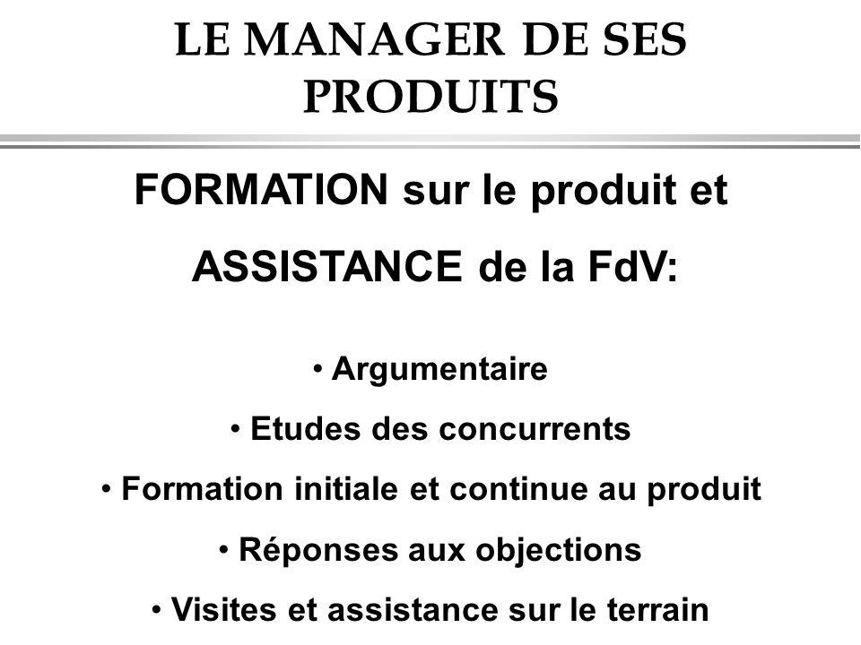 LE MANAGER DE SES PRODUITS FORMATION sur le produit et ASSISTANCE de la FdV: • Argumentaire • Etudes des concurrents • Formation initiale et continue au produit • Réponses aux objections • Visites et assistance sur le terrain