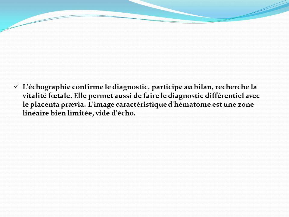  L'échographie confirme le diagnostic, participe au bilan, recherche la vitalité fœtale. Elle permet aussi de faire le diagnostic différentiel avec l