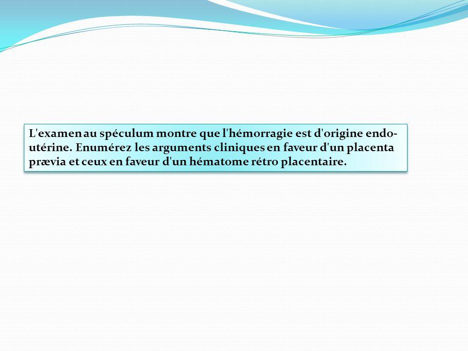 L'examen au spéculum montre que l'hémorragie est d'origine endo- utérine. Enumérez les arguments cliniques en faveur d'un placenta prævia et ceux en f