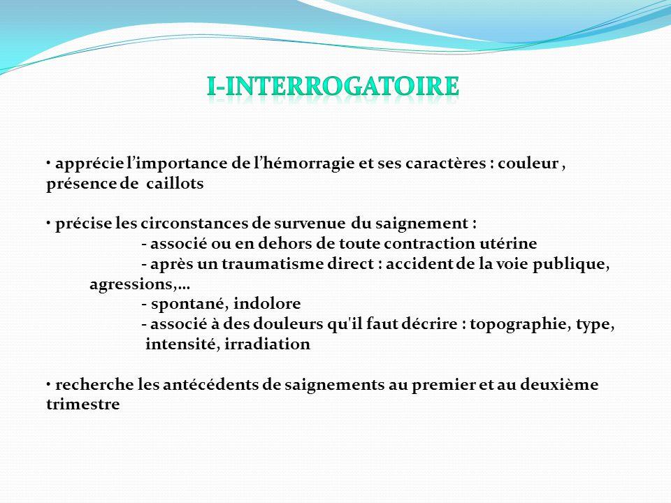 1)Interrogatoire : Analyse sémiologique des hémorragies et des éventuels signes d accompagnement : - Histoire de la grossesse : hémorragies antérieures .