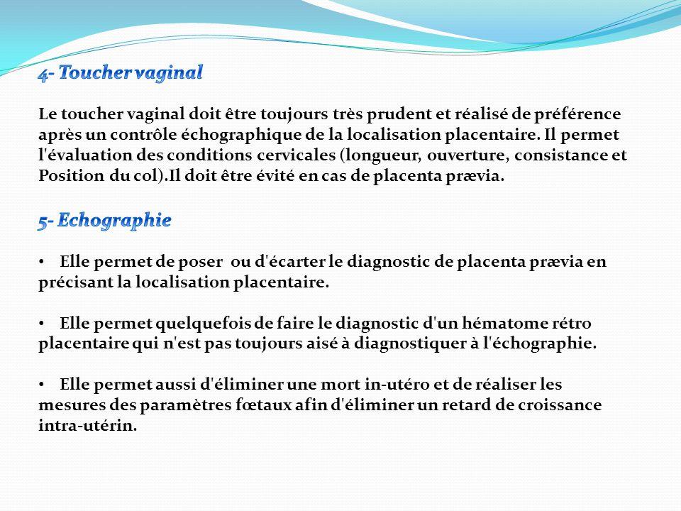 1)En faveur d un placenta prævia :  Contexte : le plus souvent multiparité.