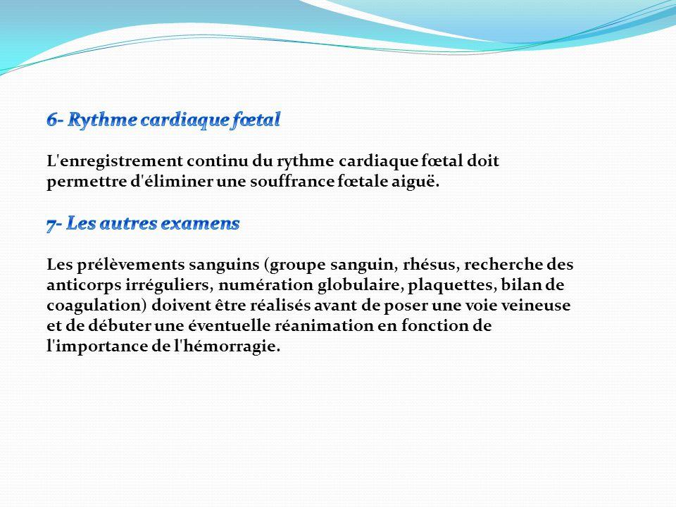 2) En faveur d un hématome rétro placentaire :  Contexte : le plus souvent primiparité.