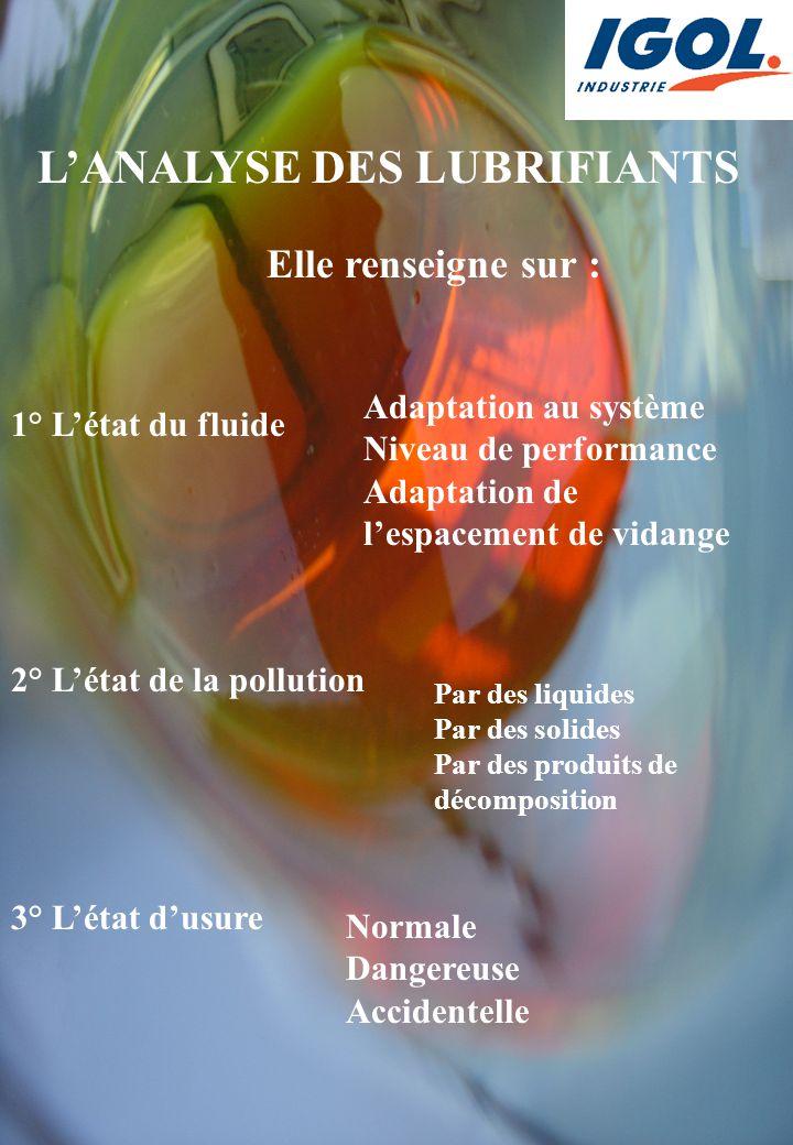 1° L'état du fluide 2° L'état de la pollution 3° L'état d'usure Adaptation au système Niveau de performance Adaptation de l'espacement de vidange Par