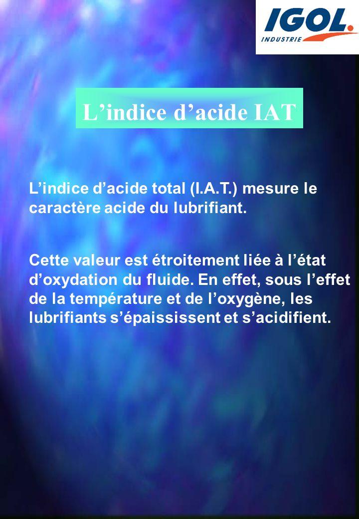 L'indice d'acide IAT L'indice d'acide total (I.A.T.) mesure le caractère acide du lubrifiant. Cette valeur est étroitement liée à l'état d'oxydation d