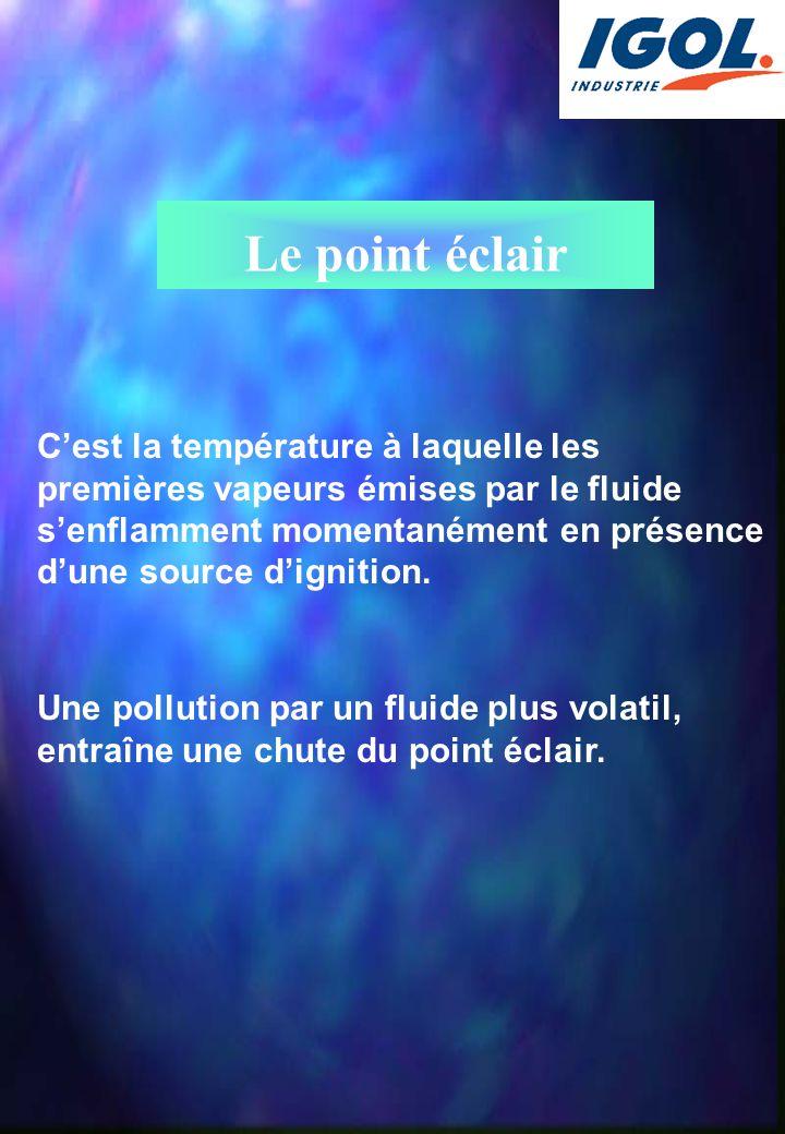 Le point éclair C'est la température à laquelle les premières vapeurs émises par le fluide s'enflamment momentanément en présence d'une source d'ignit