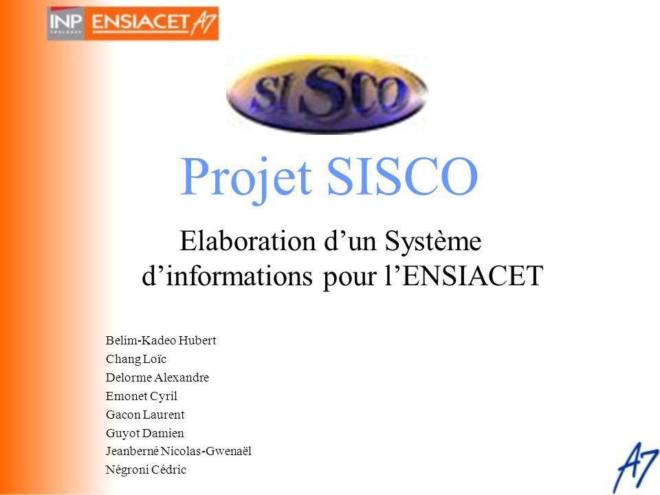 Projet SISCO Elaboration d'un Système d'informations pour l'ENSIACET Belim-Kadeo Hubert Chang Loïc Delorme Alexandre Emonet Cyril Gacon Laurent Guyot