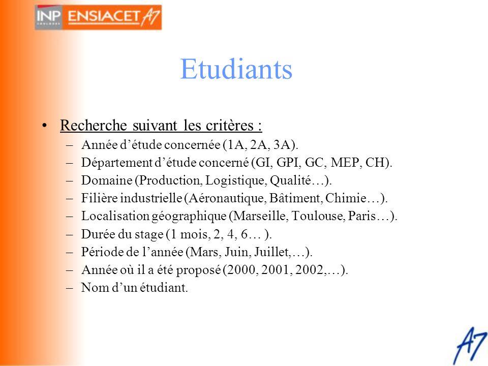 •Recherche suivant les critères : –Année d'étude concernée (1A, 2A, 3A). –Département d'étude concerné (GI, GPI, GC, MEP, CH). –Domaine (Production, L