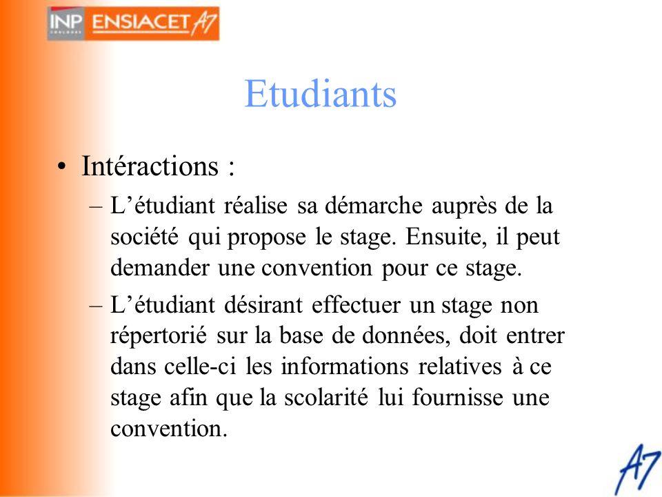 •Intéractions : –L'étudiant réalise sa démarche auprès de la société qui propose le stage. Ensuite, il peut demander une convention pour ce stage. –L'