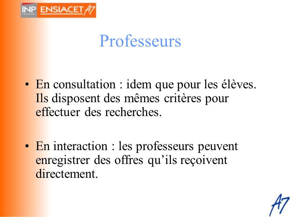•En consultation : idem que pour les élèves. Ils disposent des mêmes critères pour effectuer des recherches. •En interaction : les professeurs peuvent