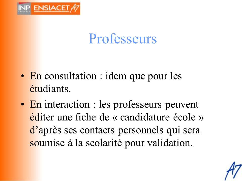 •En consultation : idem que pour les étudiants. •En interaction : les professeurs peuvent éditer une fiche de « candidature école » d'après ses contac