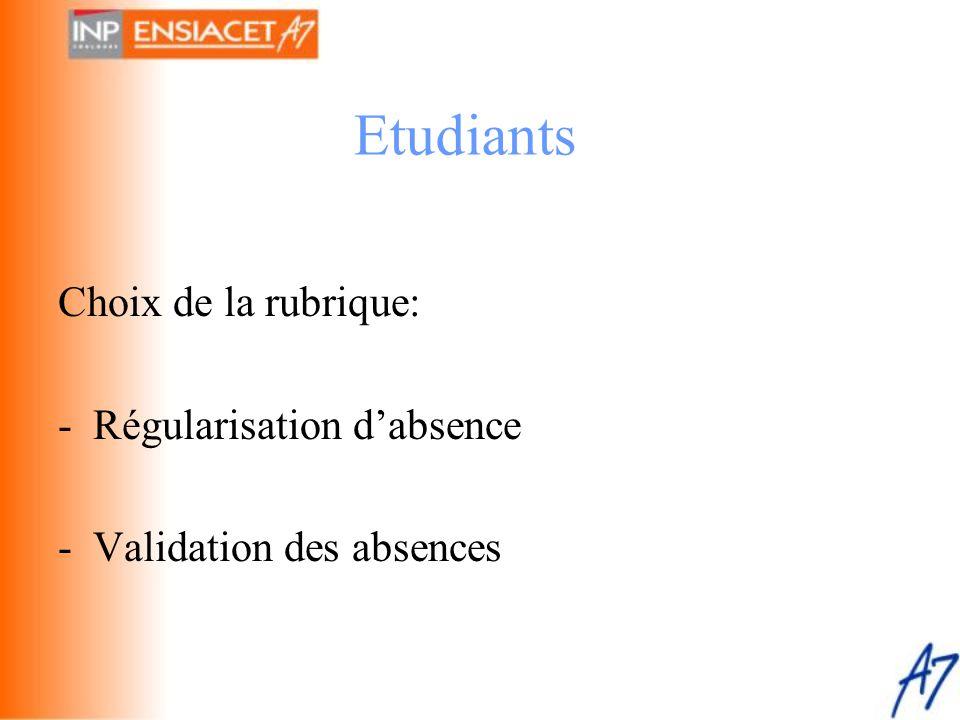 Choix de la rubrique: - Régularisation d'absence - Validation des absences Etudiants
