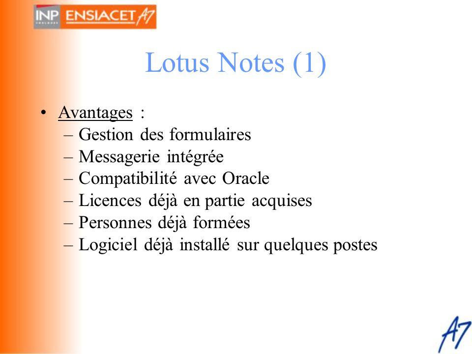 Lotus Notes (1) •Avantages : –Gestion des formulaires –Messagerie intégrée –Compatibilité avec Oracle –Licences déjà en partie acquises –Personnes déj