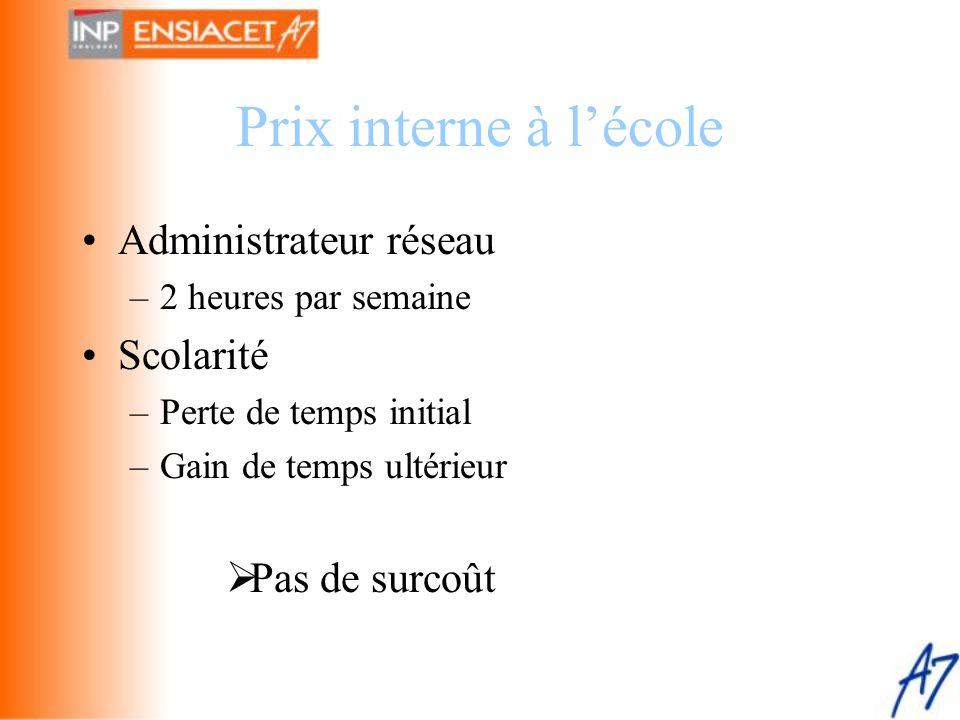 Prix interne à l'école •Administrateur réseau –2 heures par semaine •Scolarité –Perte de temps initial –Gain de temps ultérieur  Pas de surcoût