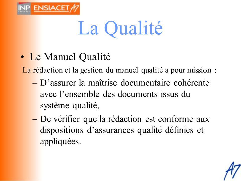 La Qualité •Le Manuel Qualité La rédaction et la gestion du manuel qualité a pour mission : –D'assurer la maîtrise documentaire cohérente avec l'ensem
