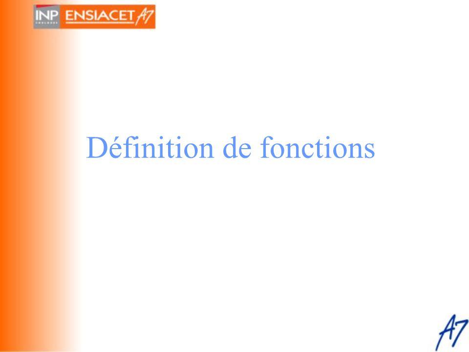 Définition de fonctions
