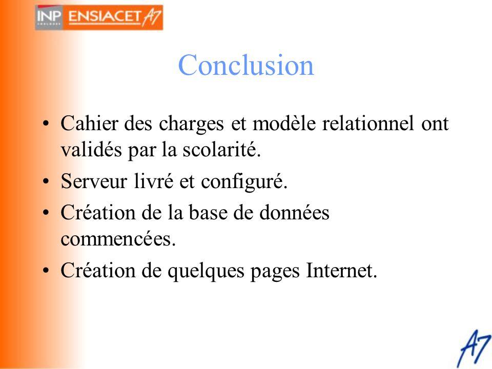 Conclusion •Cahier des charges et modèle relationnel ont validés par la scolarité. •Serveur livré et configuré. •Création de la base de données commen