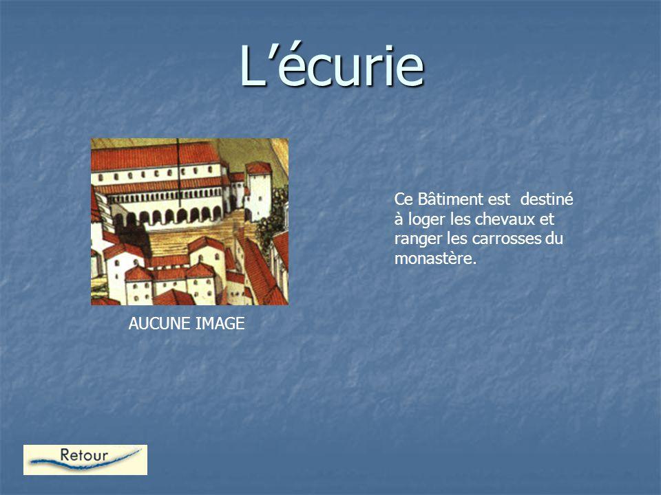 L'écurie Ce Bâtiment est destiné à loger les chevaux et ranger les carrosses du monastère.