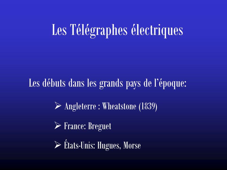 Les Télégraphes électriques Les débuts dans les grands pays de l'époque:  Angleterre : Wheatstone (1839)  France: Breguet  États-Unis: Hugues, Mors