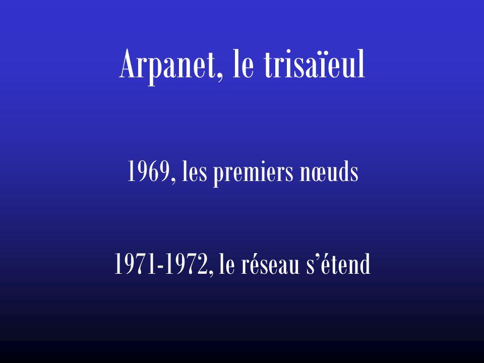 Arpanet, le trisaïeul 1969, les premiers nœuds 1971-1972, le réseau s'étend