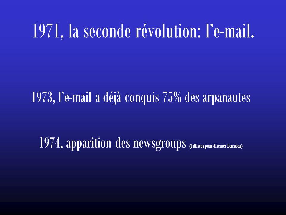 1971, la seconde révolution: l'e-mail. 1973, l'e-mail a déjà conquis 75% des arpanautes 1974, apparition des newsgroups (Utilisées pour discuter Donat