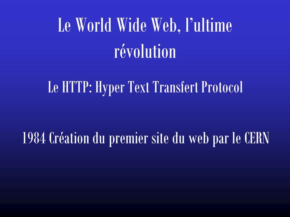Le World Wide Web, l'ultime révolution Le HTTP: Hyper Text Transfert Protocol 1984 Création du premier site du web par le CERN