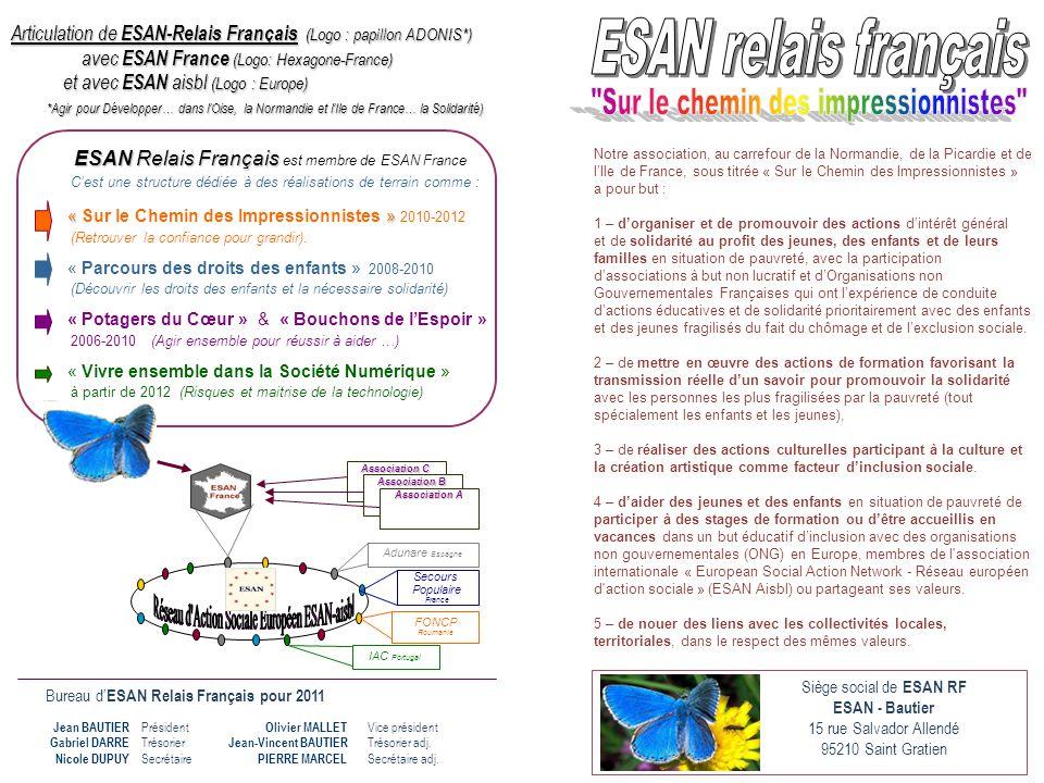 Bureau d' ESAN Relais Français pour 2011 Président Trésorier Secrétaire Jean BAUTIER Gabriel DARRE Nicole DUPUY Vice président Trésorier adj. Secrétai