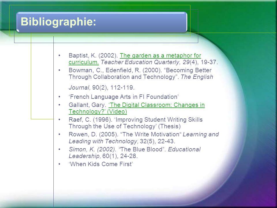 La recherche •Eckhoff and Urbach (2008) ont discuté l'importance de donner l'occasion aux enfants de créer et d'explorer. (p.185) •Rowen (2005) a fait un projet avec des amis écrivains.