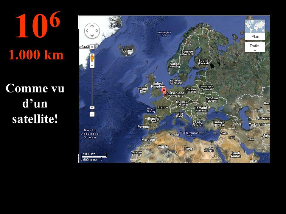 Cette distance permet de voir les d'autre pays ! 10 5 100 km
