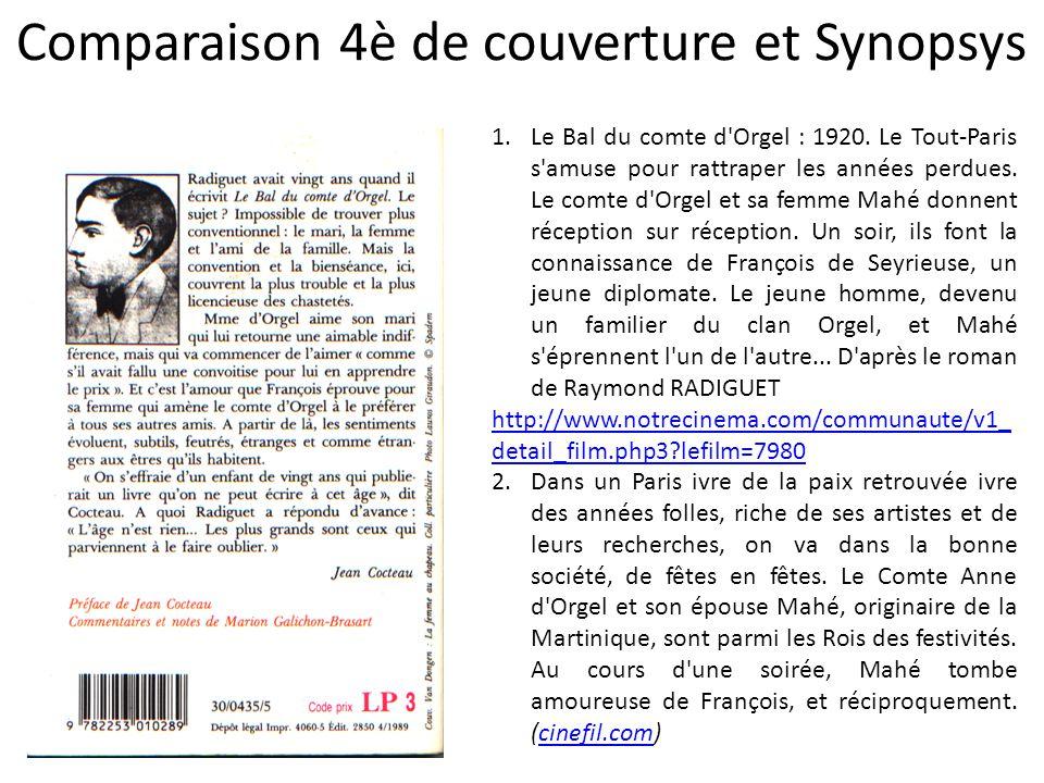 Comparaison 4è de couverture et Synopsys 1.Le Bal du comte d'Orgel : 1920. Le Tout-Paris s'amuse pour rattraper les années perdues. Le comte d'Orgel e