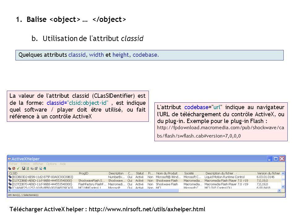 1.Balise … b.Utilisation de l'attribut classid Quelques attributs classid, width et height, codebase. Télécharger ActiveX helper : http://www.nirsoft.