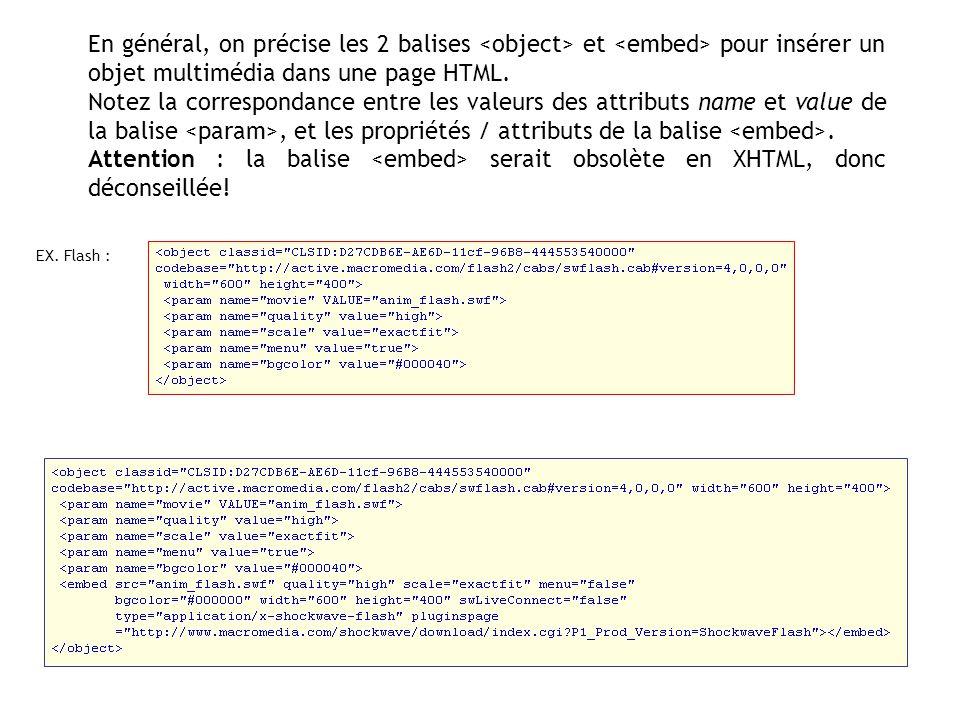En général, on précise les 2 balises et pour insérer un objet multimédia dans une page HTML. Notez la correspondance entre les valeurs des attributs n