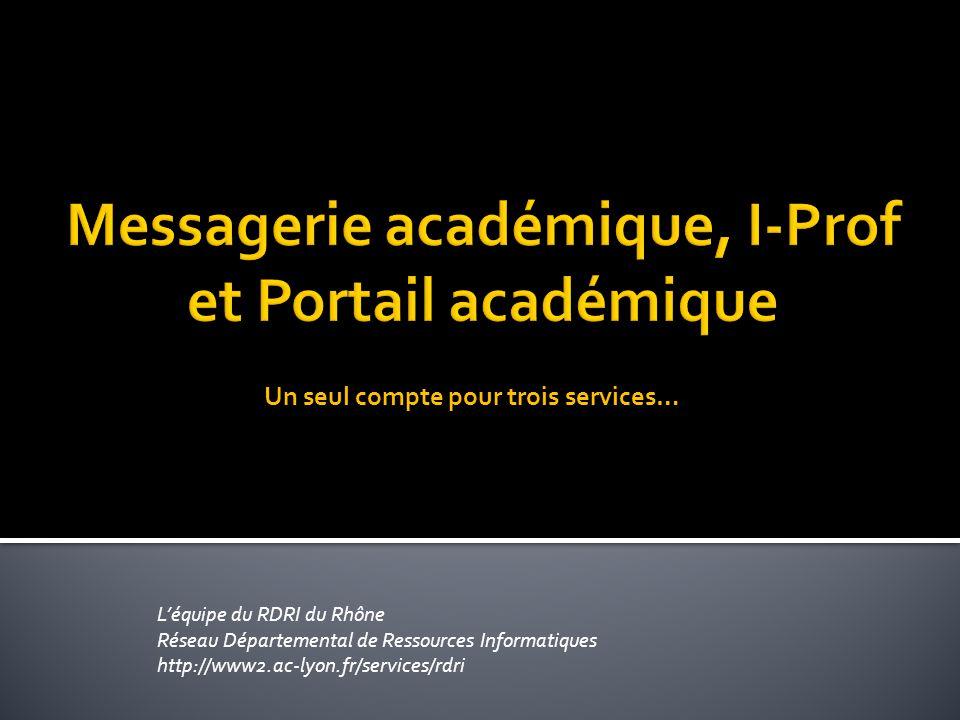 L'équipe du RDRI du Rhône Réseau Départemental de Ressources Informatiques http://www2.ac-lyon.fr/services/rdri Un seul compte pour trois services…