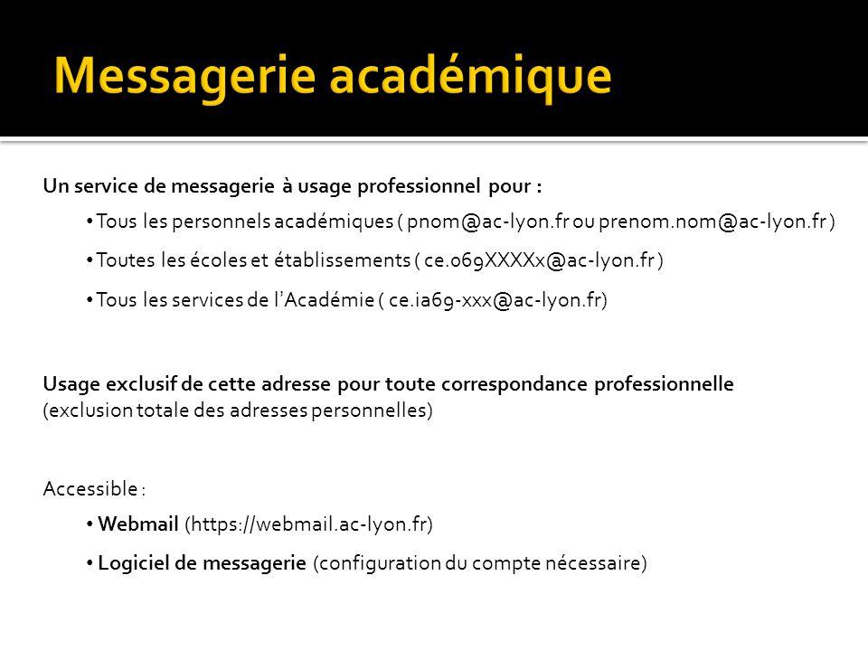 Un service de messagerie à usage professionnel pour : • Tous les personnels académiques ( pnom@ac-lyon.fr ou prenom.nom@ac-lyon.fr ) • Toutes les écol