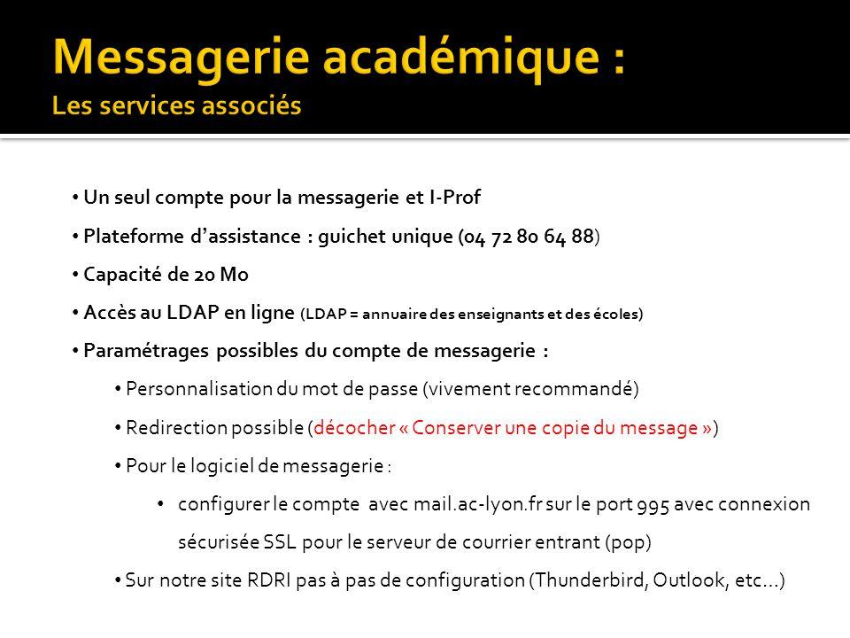 • Un seul compte pour la messagerie et I-Prof • Plateforme d'assistance : guichet unique (04 72 80 64 88) • Capacité de 20 Mo • Accès au LDAP en ligne